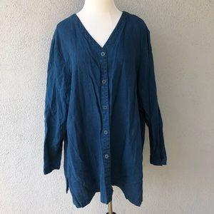 EILEEN FISHER Blue Linen Button Up Tunic Top